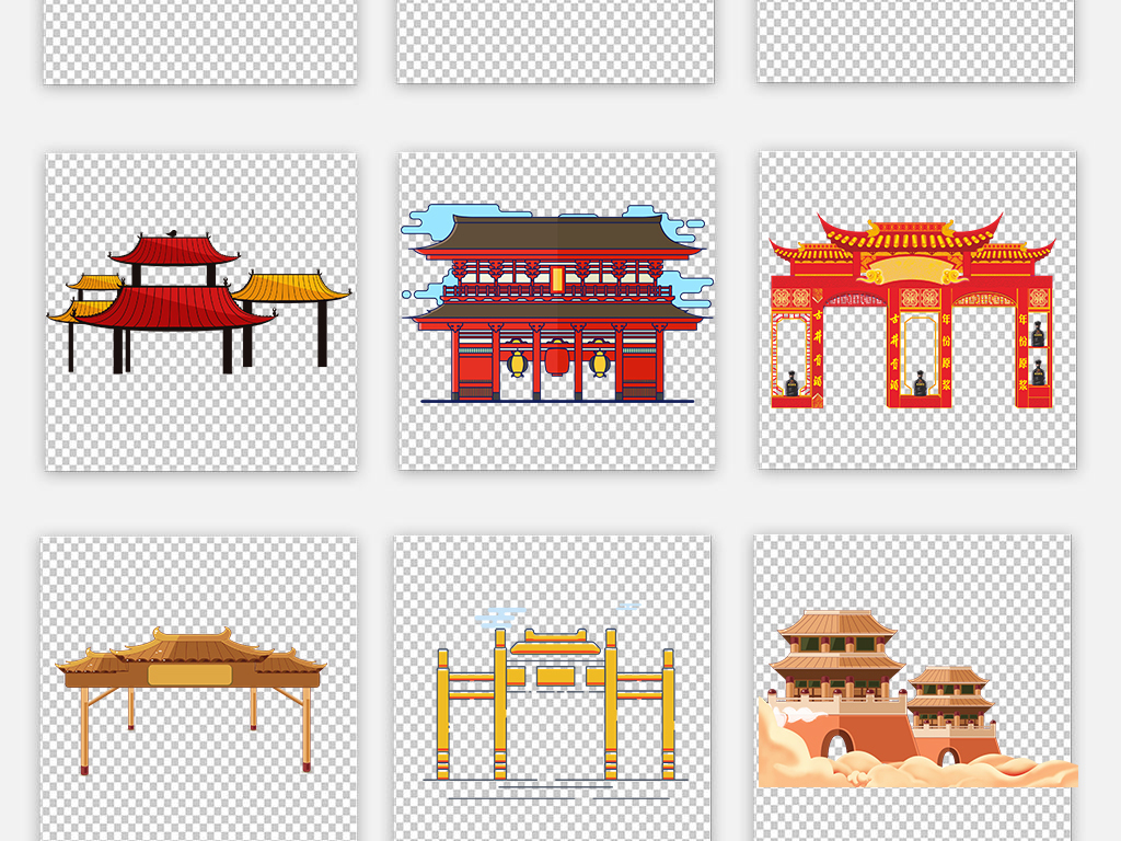 中国风手绘建筑卡通屋顶屋檐png海报素材