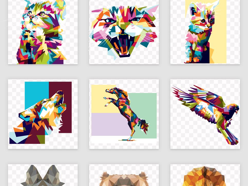 20款创意多边形动物图案矢量素材