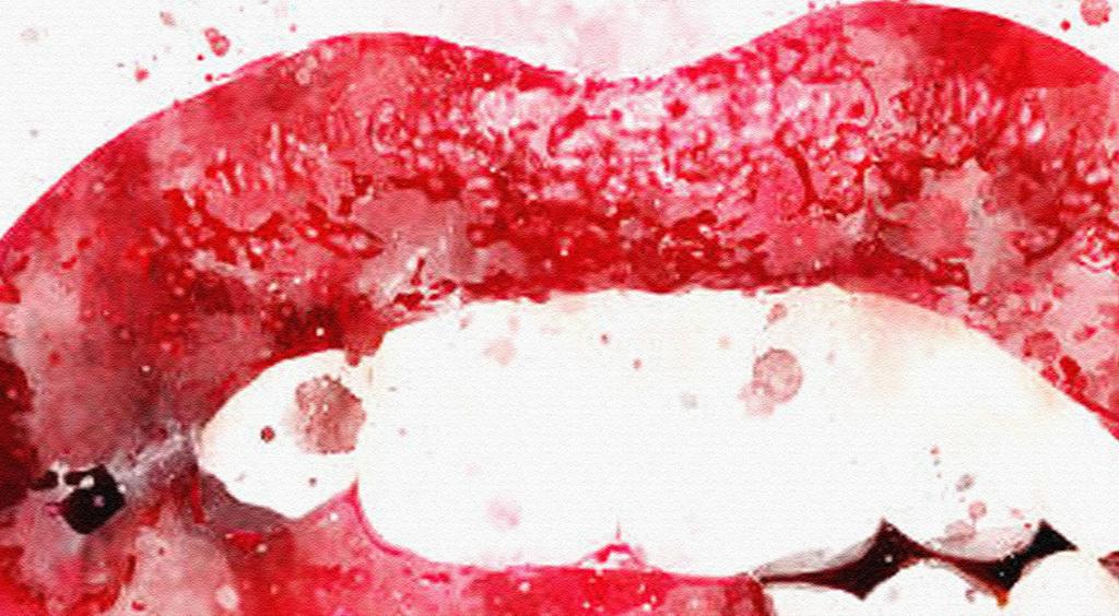 手绘水彩红唇装饰画无框画