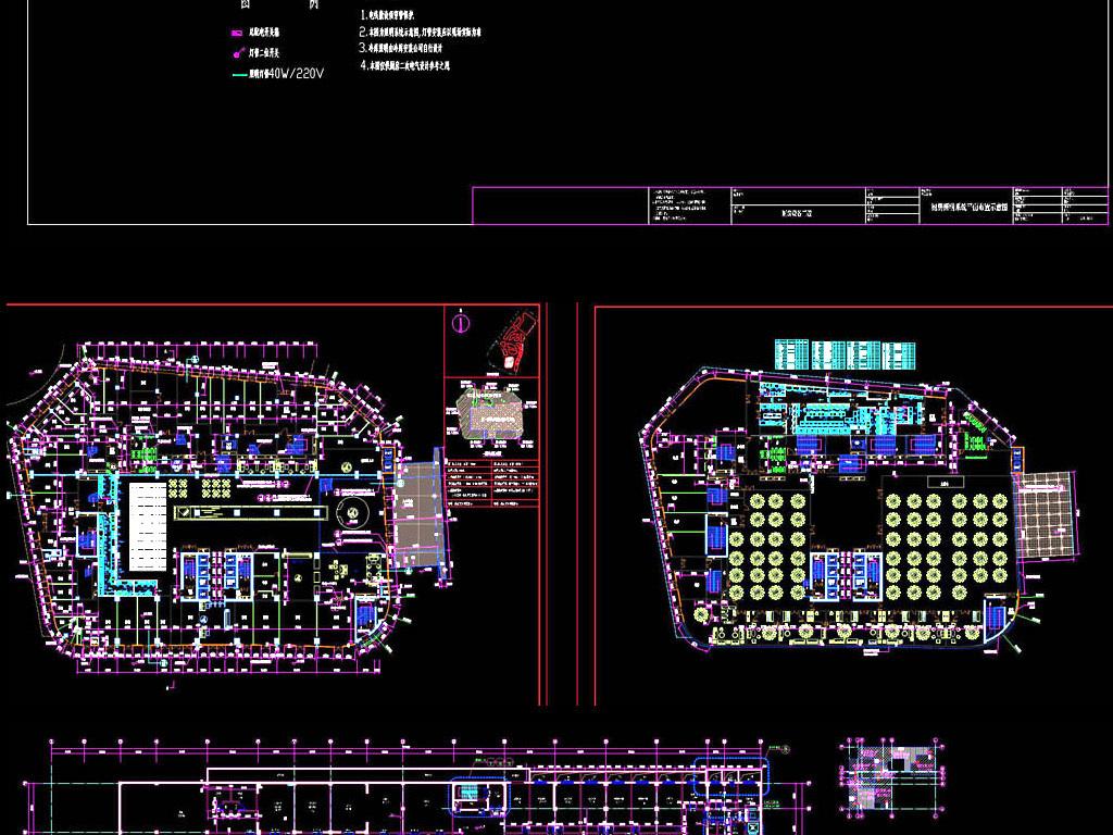 酒店厨房设计施工图平面图下载(图片28.05mb)_餐厅cad