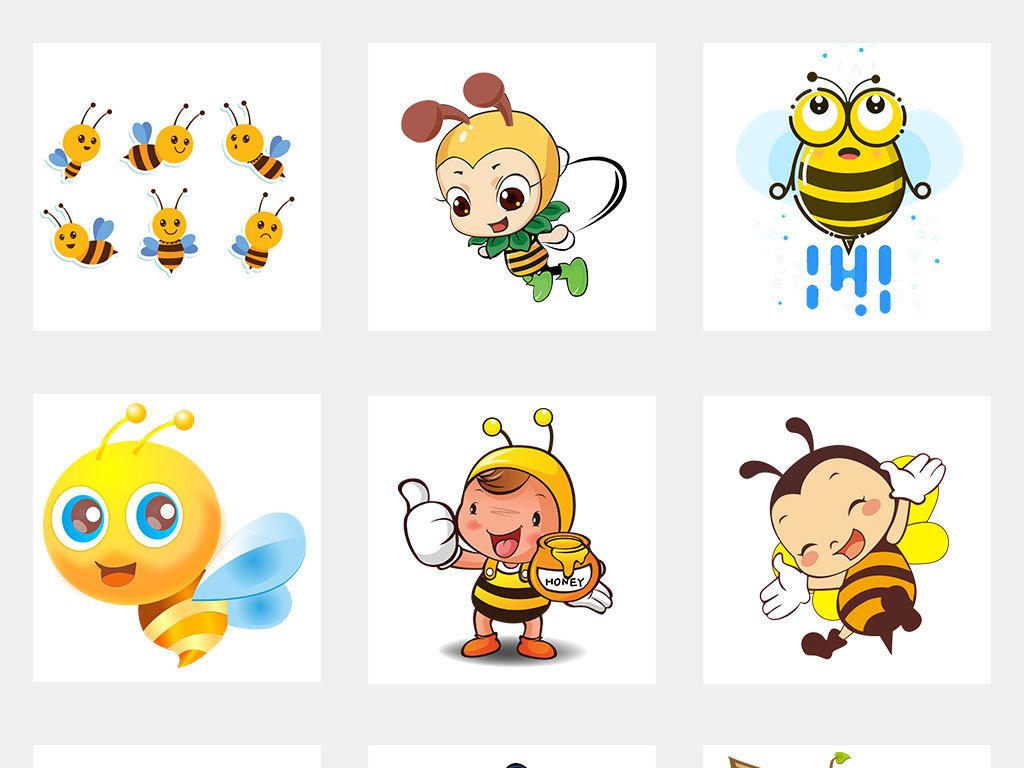 卡通可爱手绘小蜜蜂采蜜海报素材
