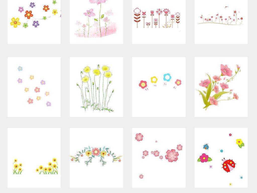 卡通手绘小花小草卡通花草植物边框素材图片