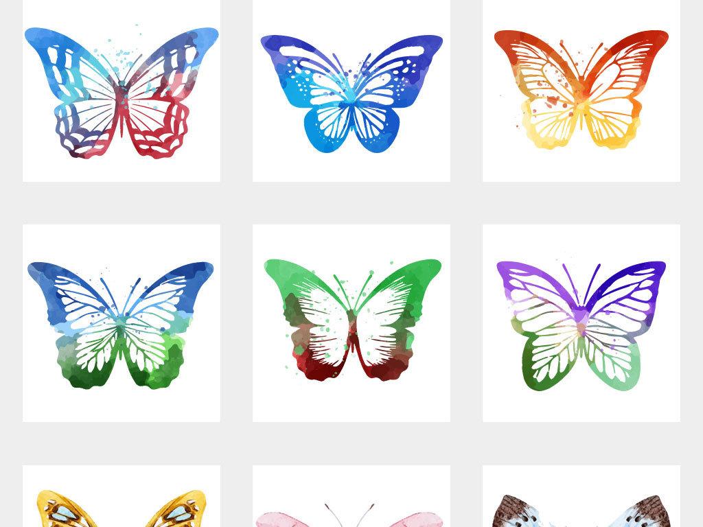 唯美手绘水彩蝴蝶矢量素材