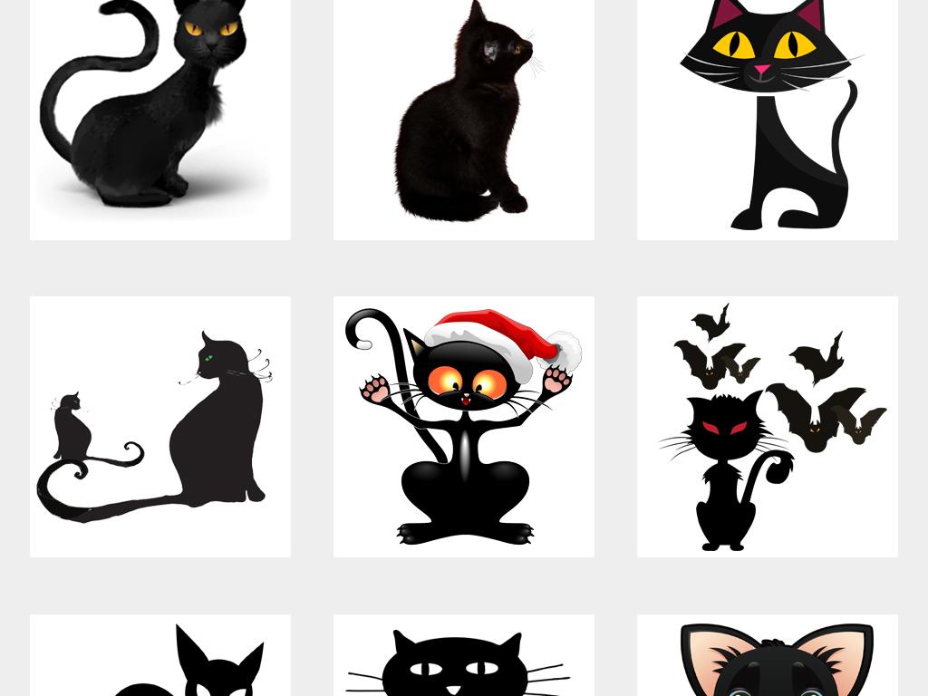 免抠元素 自然素材 动物 > 卡通手绘黑色猫咪动物png免扣素材  素材图