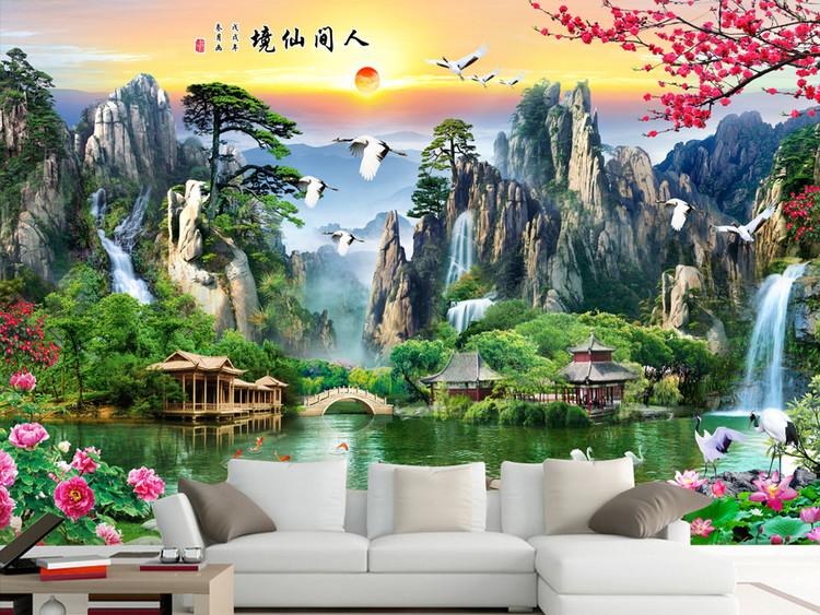 山水画瀑布山水流水生财电视沙发背景墙