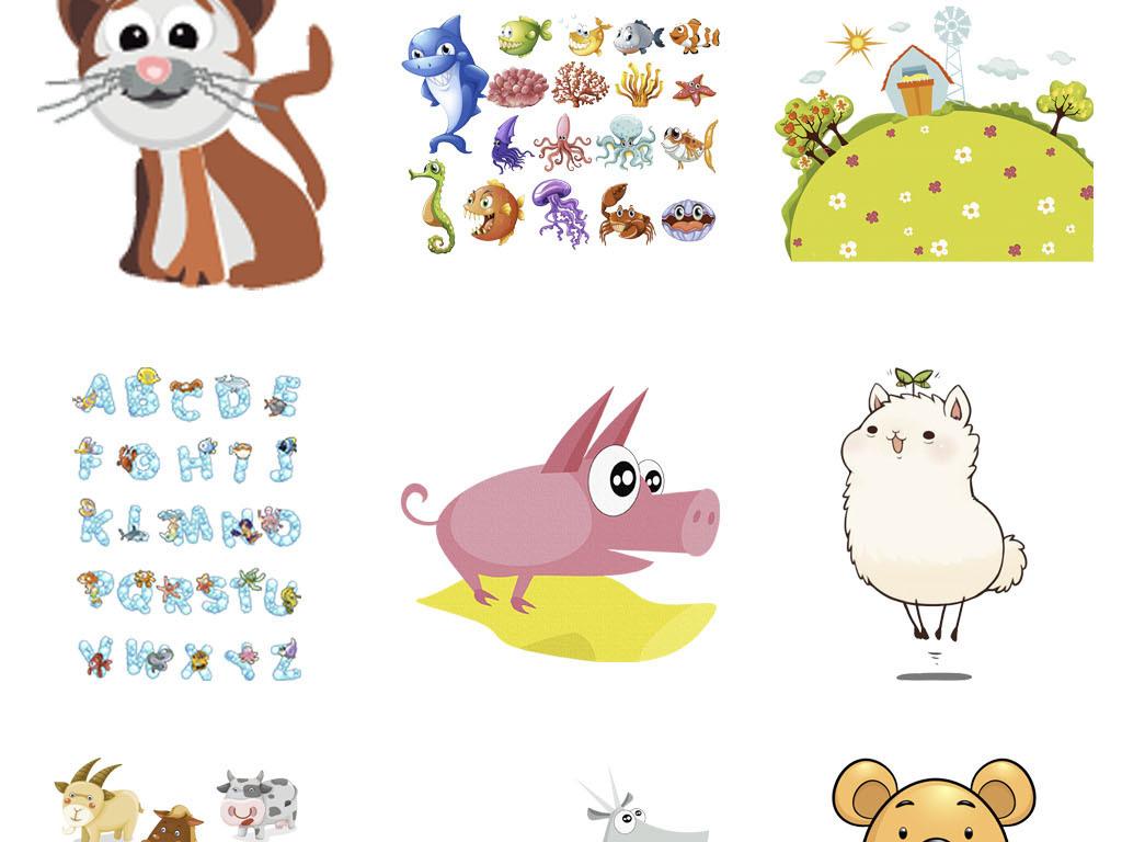 卡通马小猪狮子老虎兔子猴子和动物png