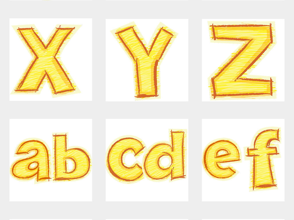 卡通手绘英文艺术字母数字png透明背景免扣素材