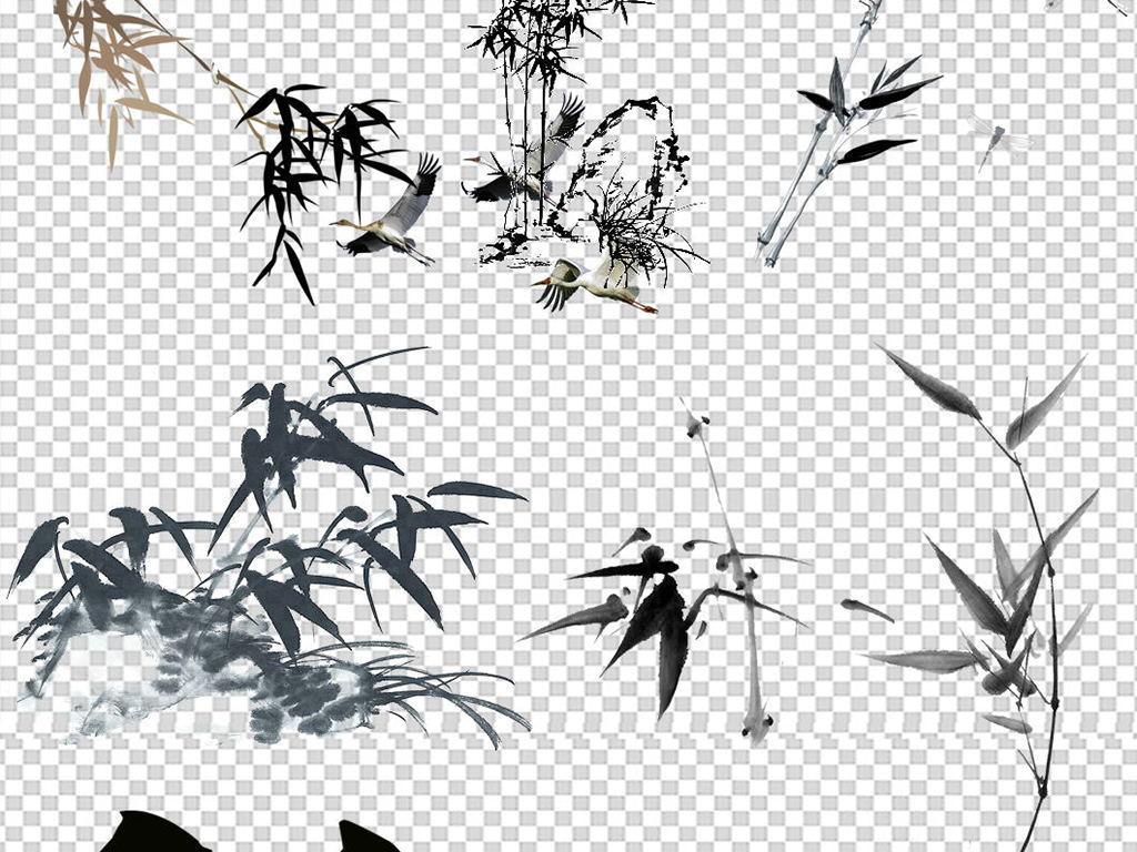 中国风水墨手绘竹子清竹园林植物绘画清雅png素材