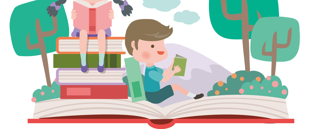 2018手绘卡通世界读书日阅读海报模版矢量素材