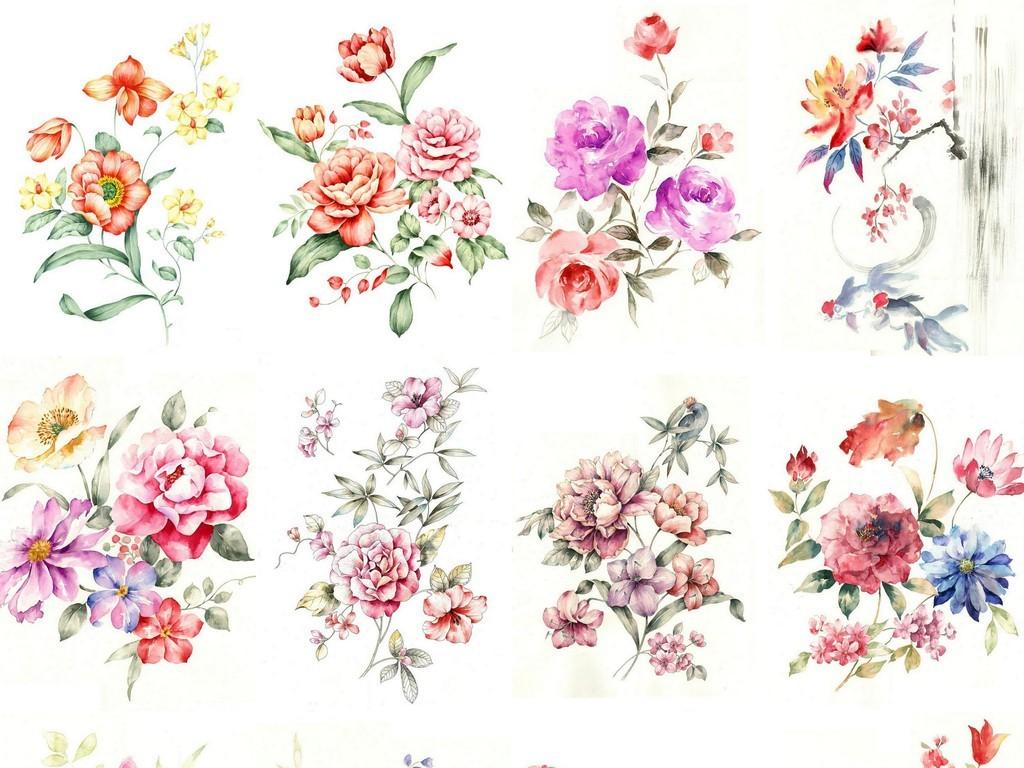 彩色手绘花卉素材背景水墨花卉