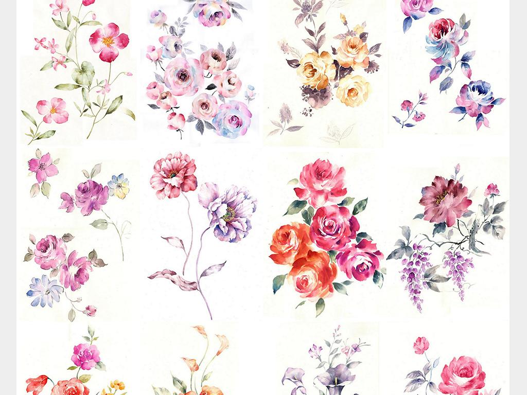 桂花背景花卉手绘花卉手绘背景素材水墨背景花卉背景彩色彩色背景水墨