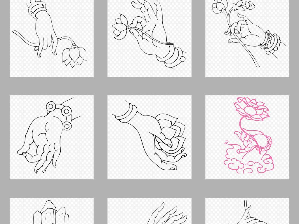 设计元素 背景素材 抽象几何 > 手绘佛教手势观音手线条海报png背景