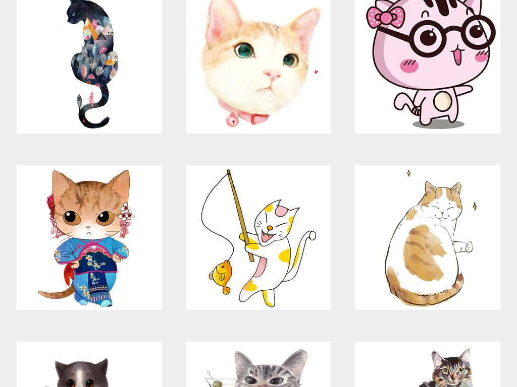 卡通可爱手绘猫咪宠物小猫png免抠素材