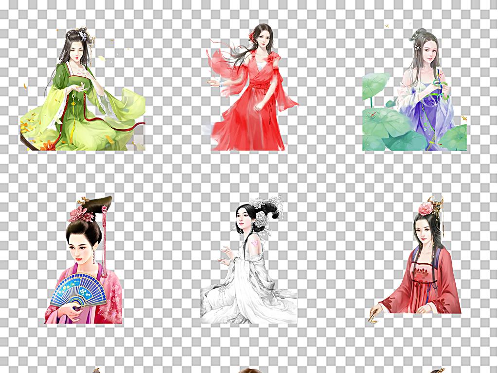 设计元素 人物形象 美女 > 古风女子后宫女仙女古典美人  素材图片