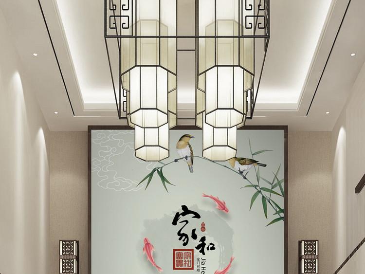 中式家和富贵竹子荷花玄关过道背景墙装饰画