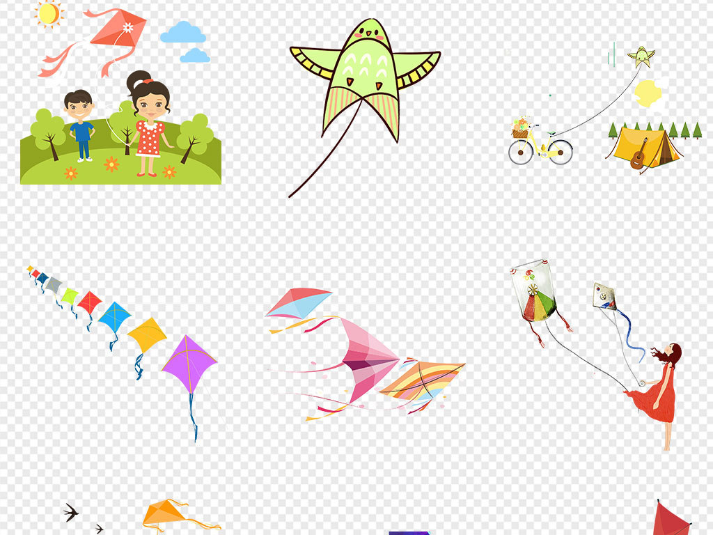 50款古风手绘风筝放风筝小孩玩耍童趣素材