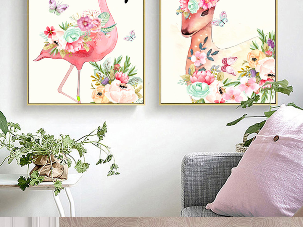 ins小清新现代简约手绘水彩花卉动物火烈鸟北欧装饰画