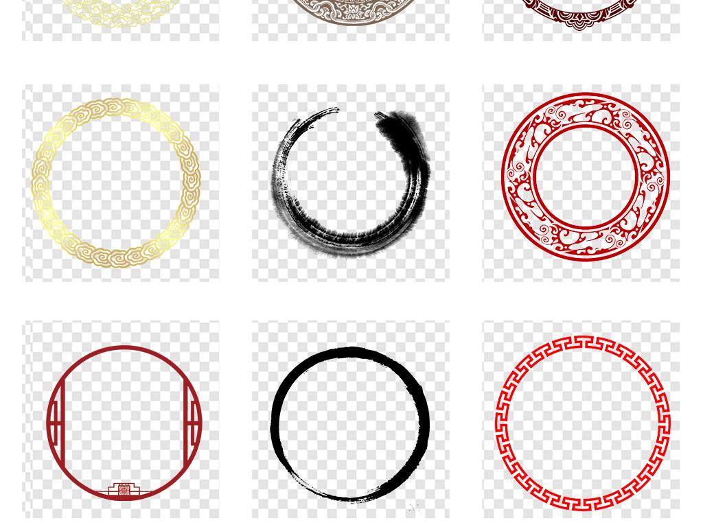 水墨中国风圆环圆形边框圆圈中式边框素材