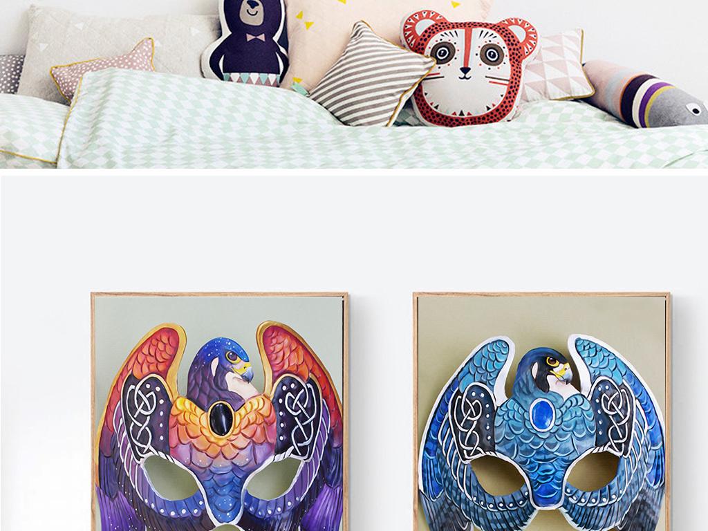 北欧现代简约手绘小鸟面具无框装饰画图片设计素材 高清模板下载 47.05MB 民俗装饰画大全