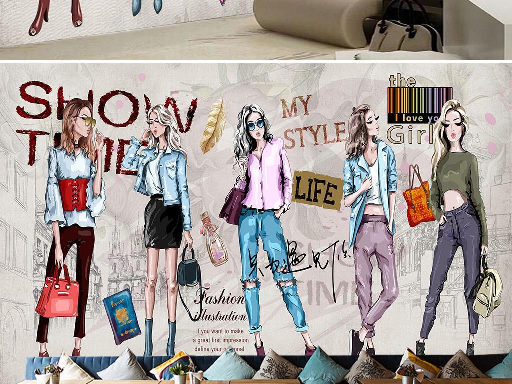 高清手绘化妆品服装店工装背景墙