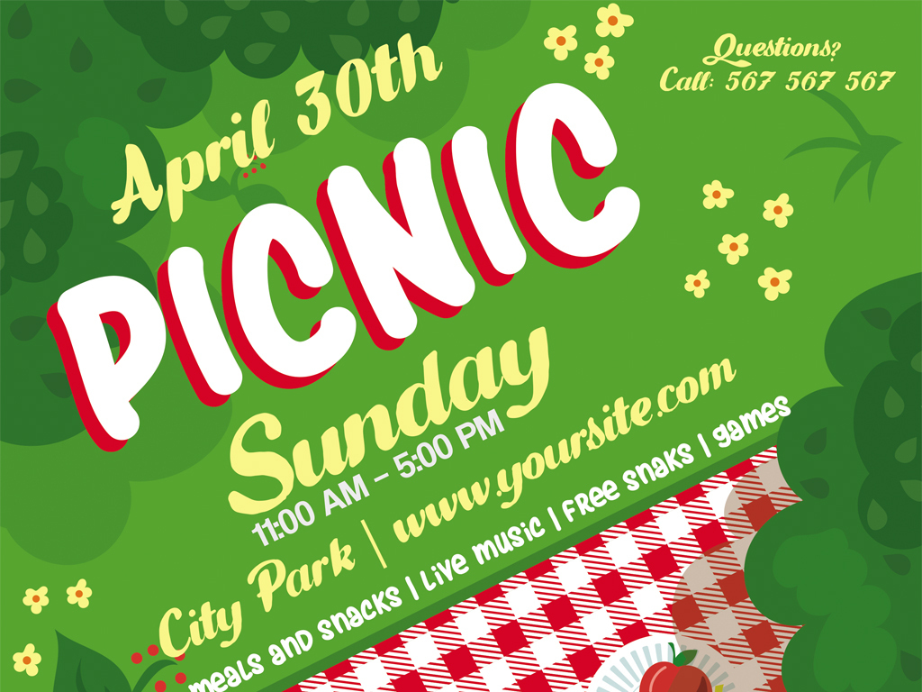 海报设计 创意海报 国外创意海报 > 手绘户外郊游野餐聚餐海报  素材