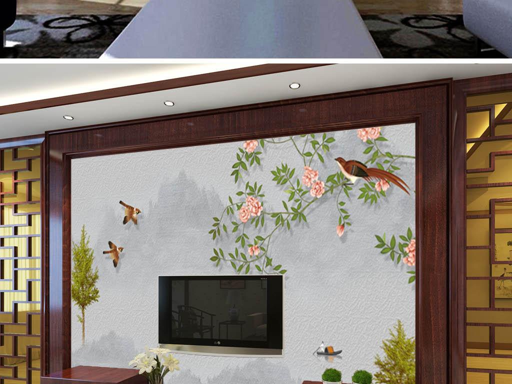 新中式手绘花鸟电视背景墙