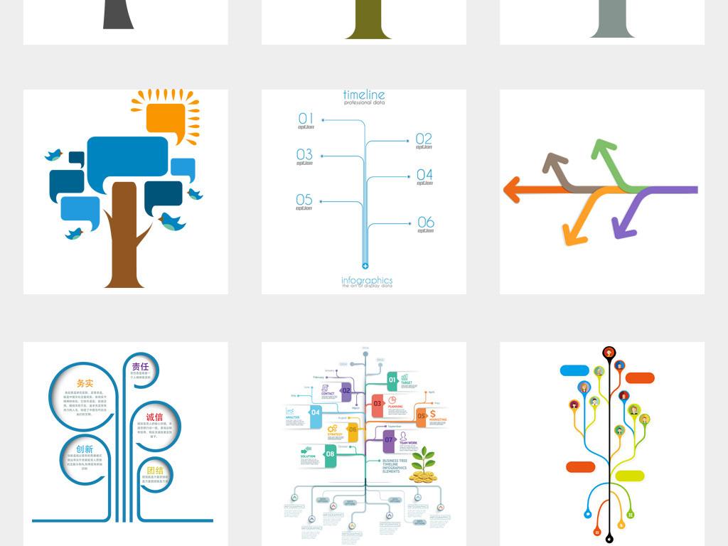 50款ppt树状图大树目录序列png设计模版