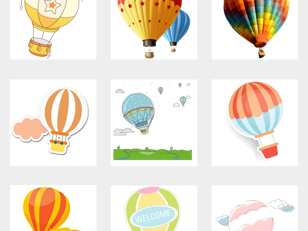 卡通手绘节日气球氢气球热气球png免扣素材