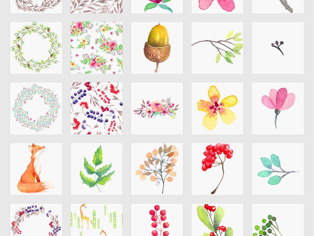 独立png/森系动植物手绘卡通水彩水墨炫彩森系动物png图片
