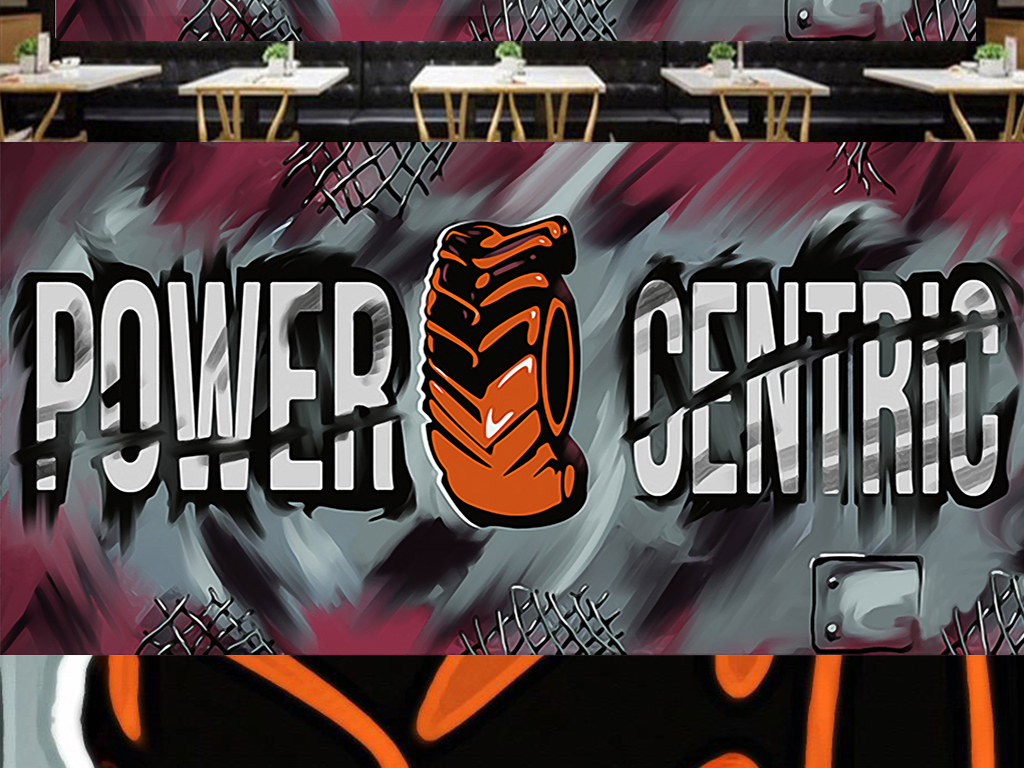 3d个性手绘工业风街头涂鸦工装背景墙