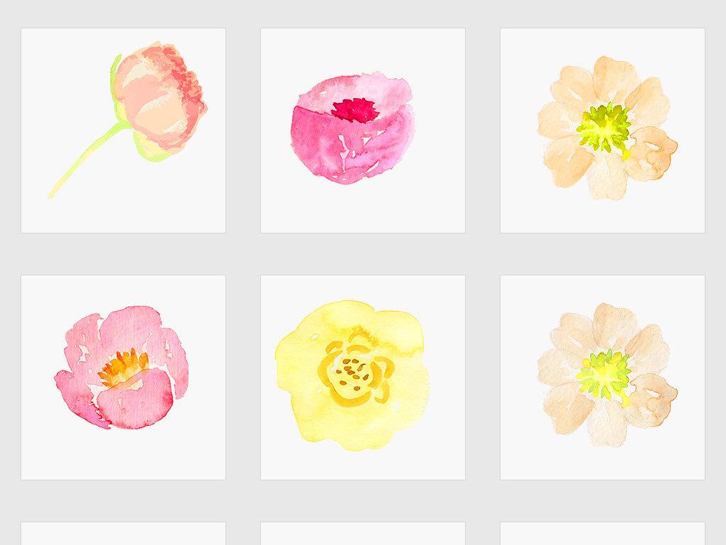 独立png/唯美森系手绘水彩花朵
