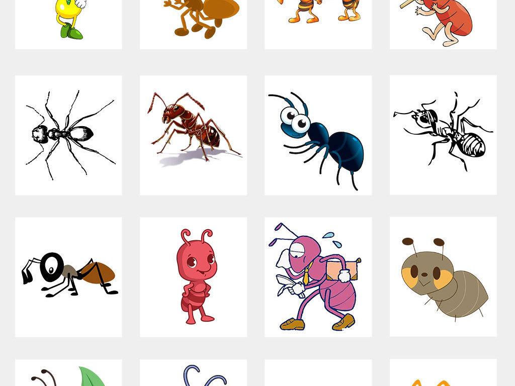 蚂蚁卡通动物幼儿园海报背景可爱贴纸素材