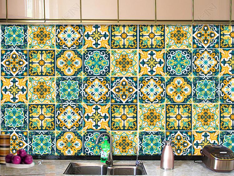 彩色花砖地毯地板墙纸图案设计