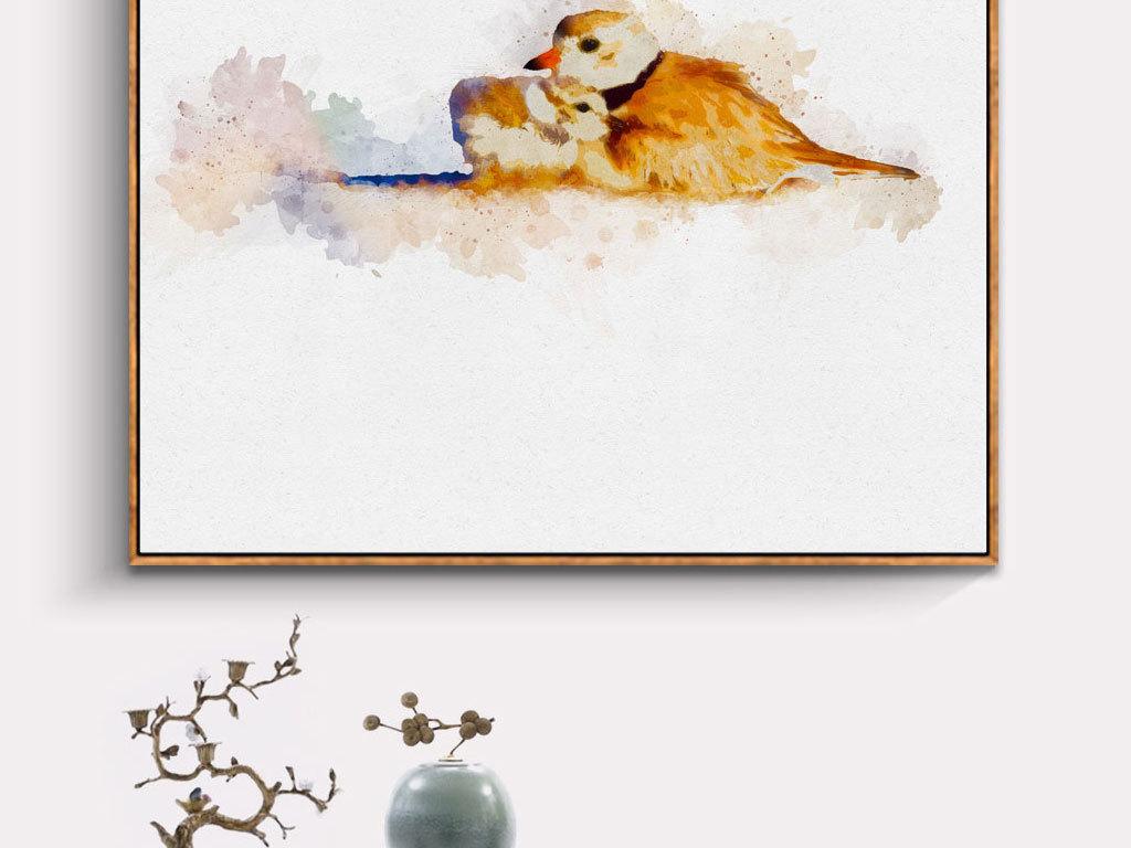 中国风素雅爱意简约水彩花鸟动物装饰画图片