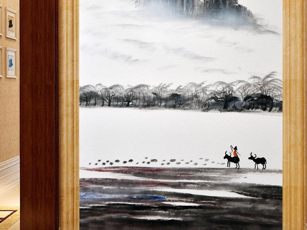 背景墙 玄关 油画|立体油画玄关 > 手绘立体意境高山流水牧童水墨玄关