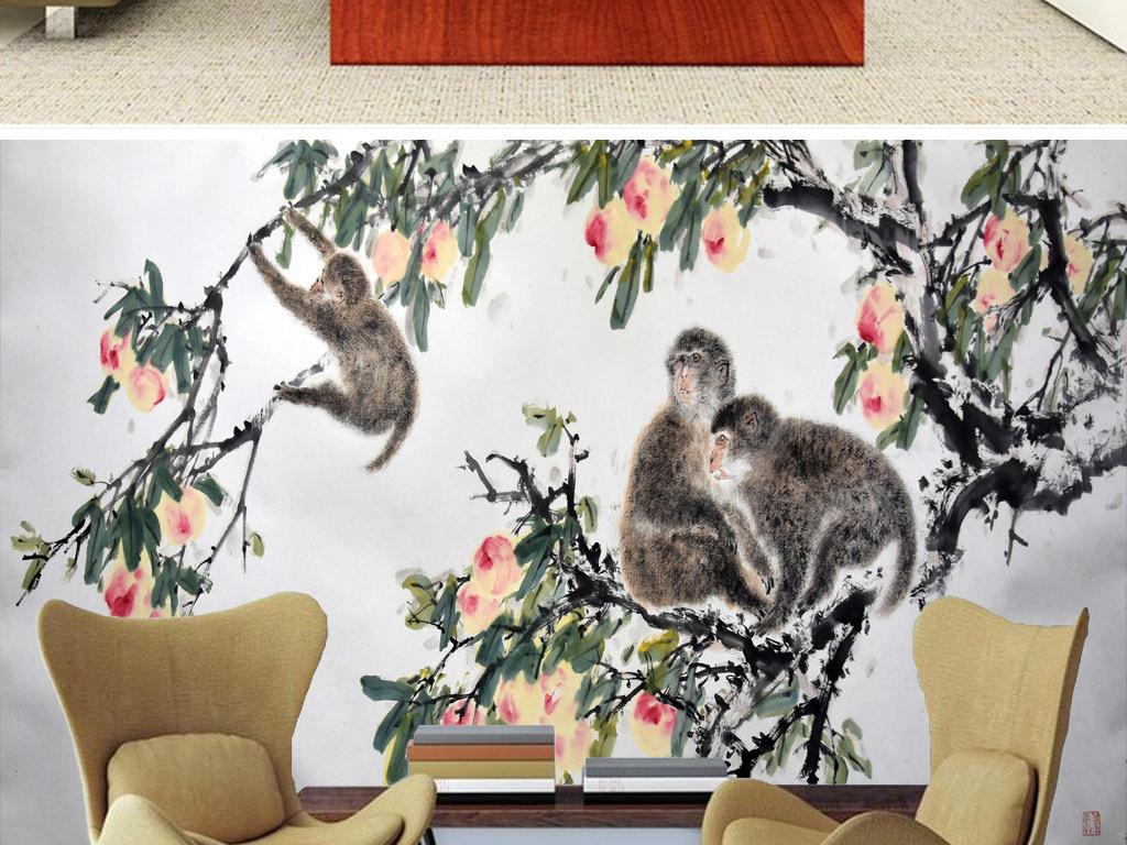手绘高清花开富贵硕果蟠桃金丝猴油画背景墙