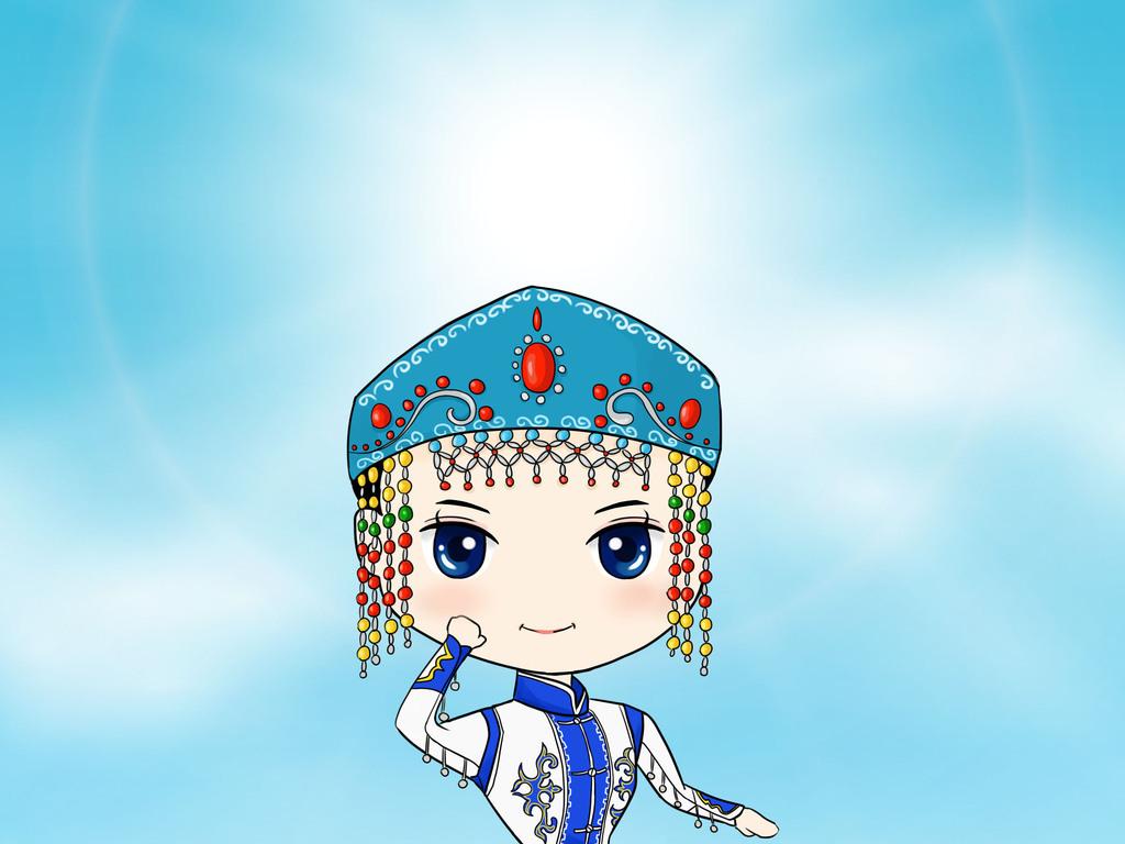设计元素 人物形象 美女 > 蒙古族手绘  素材图片参数: 编号