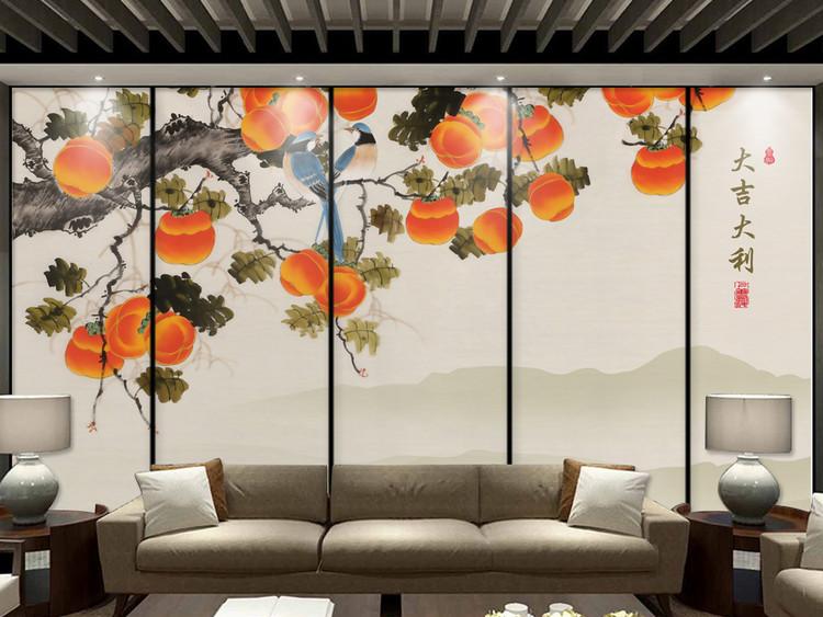 新中式工笔手绘油画大吉大利荔枝小鸟背景墙