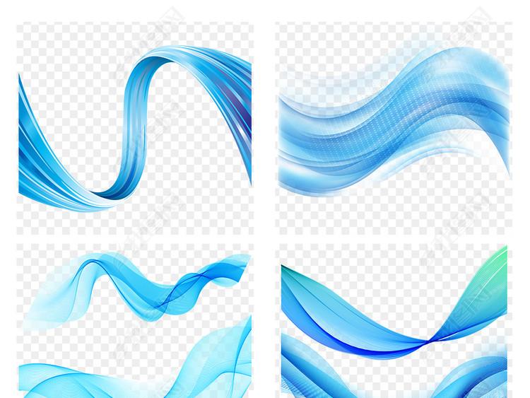 创意蓝色抽象科技商务波浪曲线海报素材背景PNG