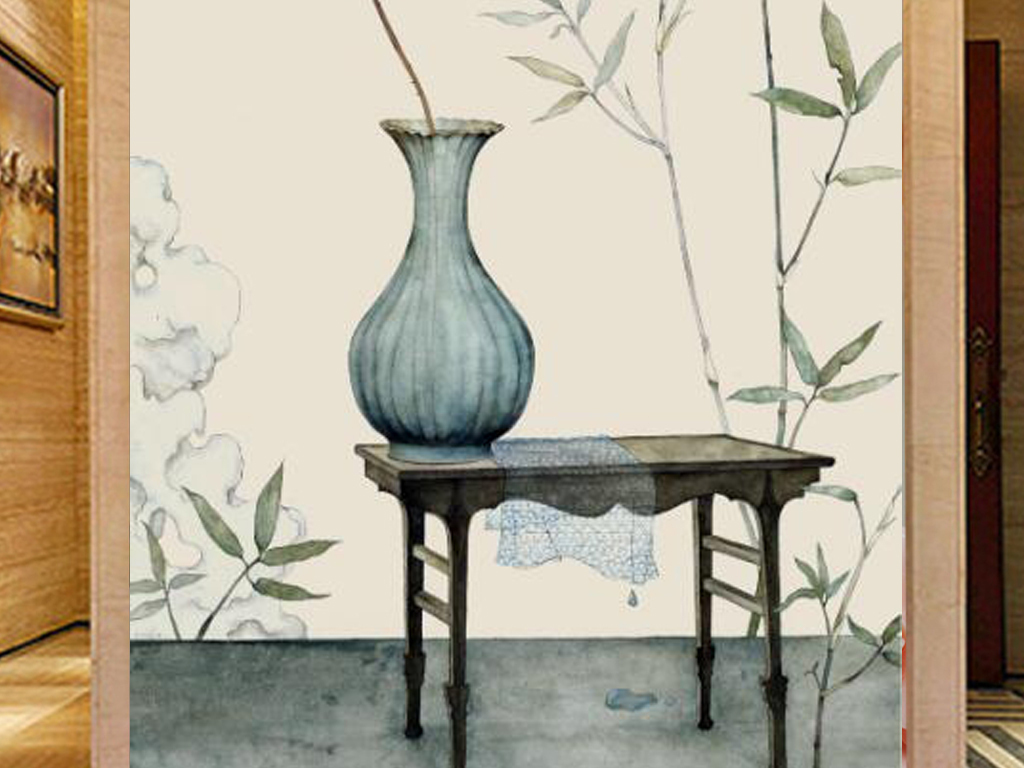新中式手绘玫瑰竹林玄关背景墙
