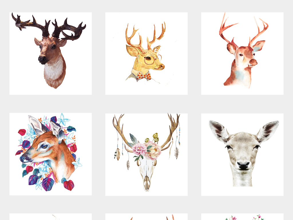 动物手绘卡通驯鹿鹿图片卡通鹿圣诞鹿卡通小鹿卡通驯鹿森林麋鹿剪影