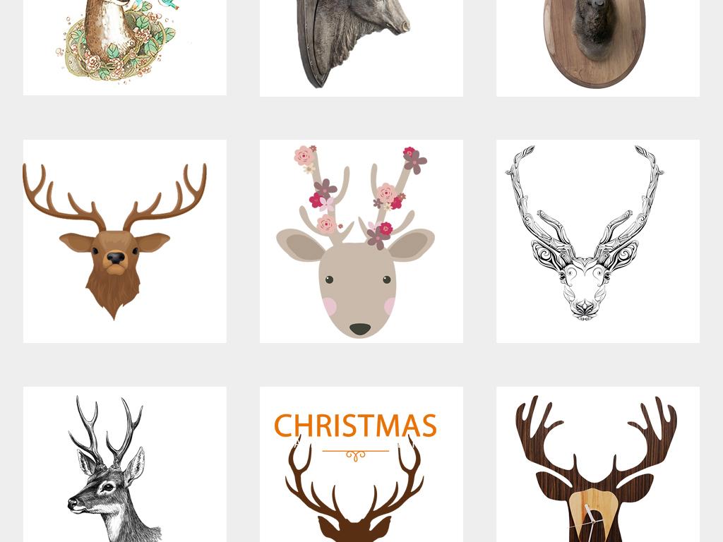 创意手绘水彩鹿头麋鹿小鹿艺术png素材