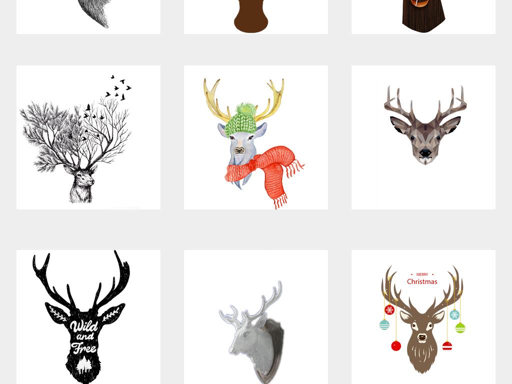 设计元素 自然素材 动物 > 创意手绘水彩鹿头麋鹿小鹿艺术png素材