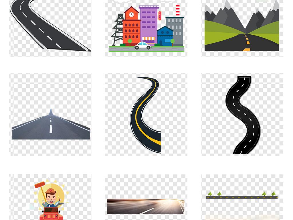 手绘道路马路公路绿道汽车交通安全免扣素材