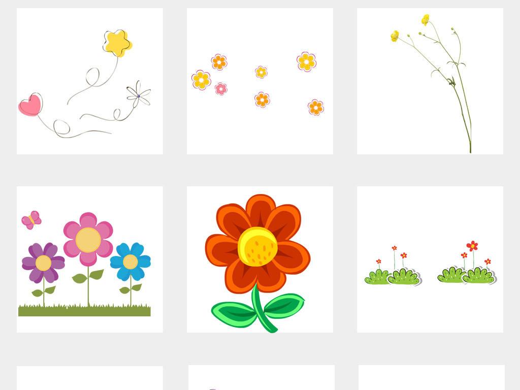 卡通手绘小花小草花草植物边框png素材