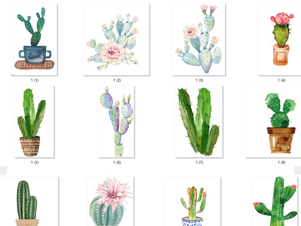 手绘卡通仙人掌盆栽装饰png植物素材