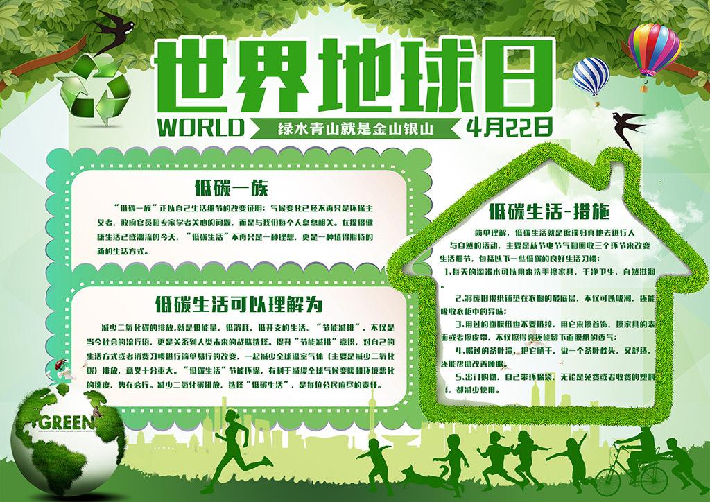 世界地球日小报保护环境绿色家园电子小报