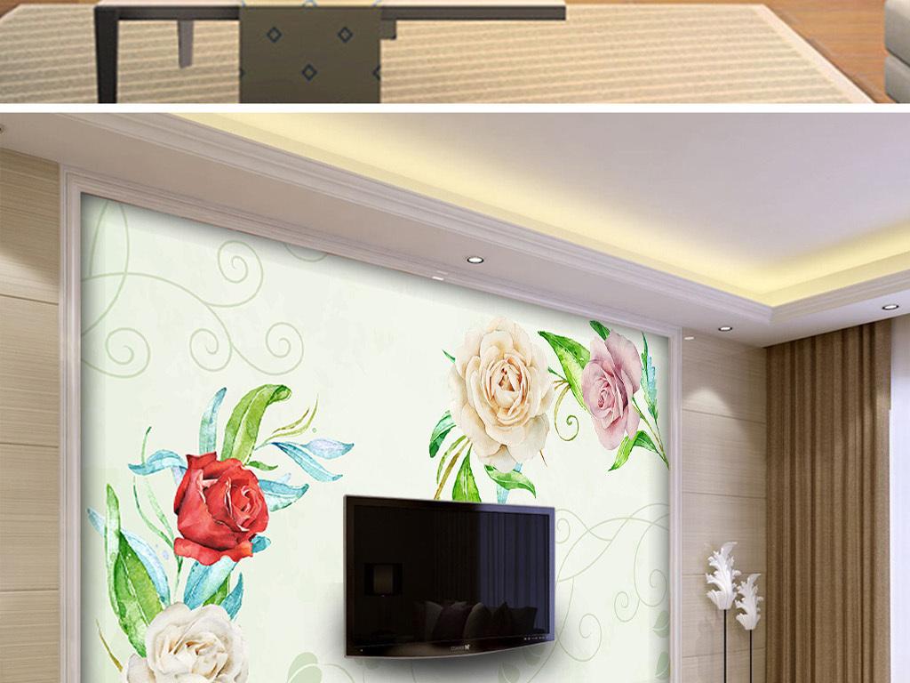 现代时尚手绘玫瑰花客厅电视背景墙