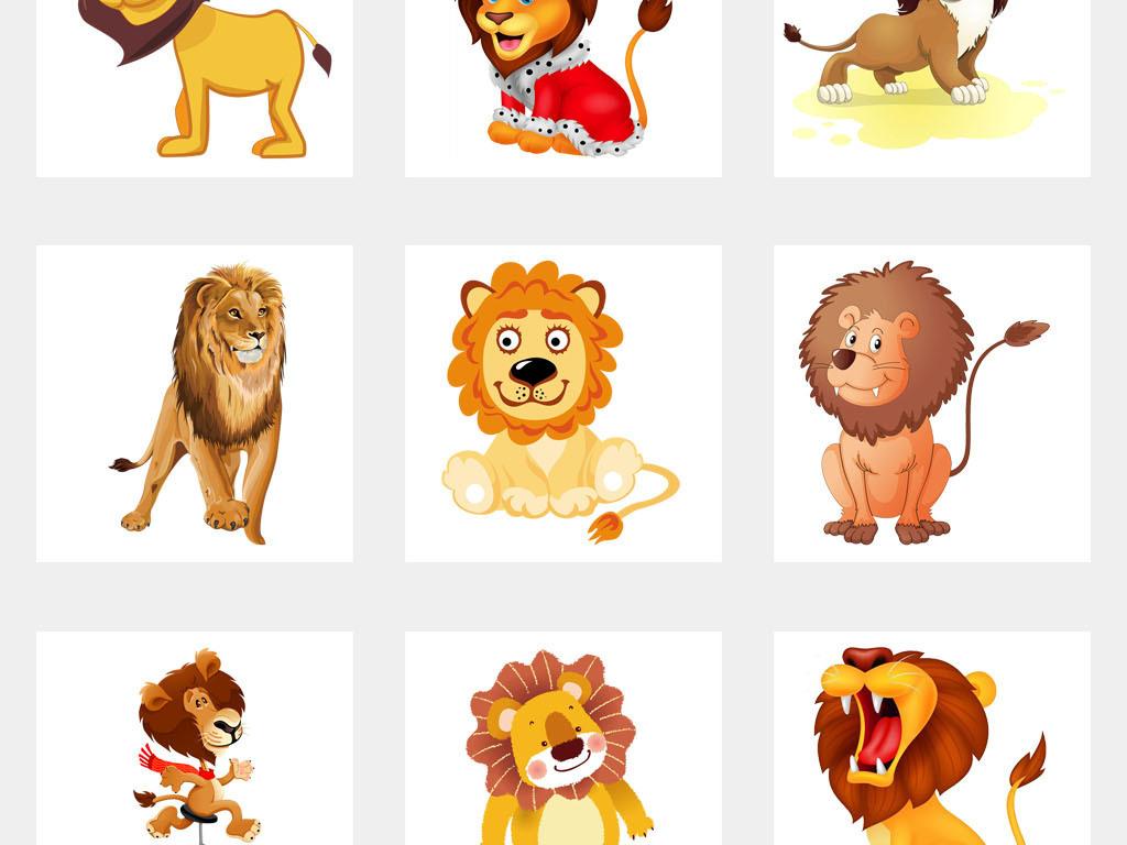 动物狮子卡通幼儿园海报背景贴纸png素材