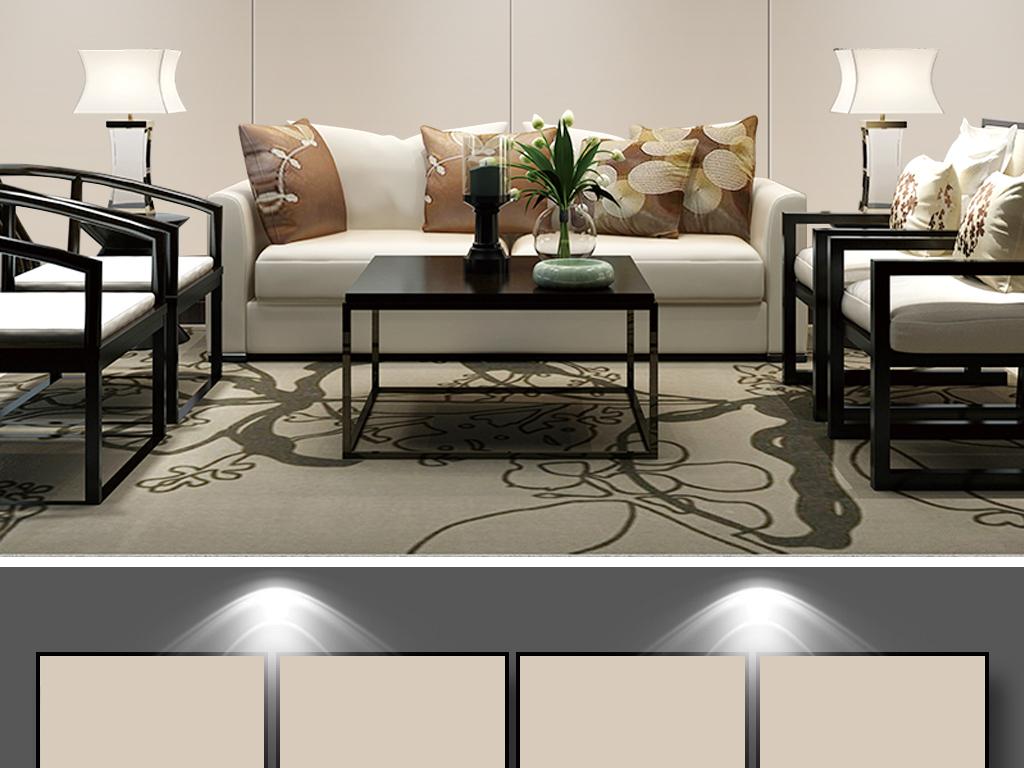 新中式禅意手绘荷花客厅沙发背景墙壁纸壁画